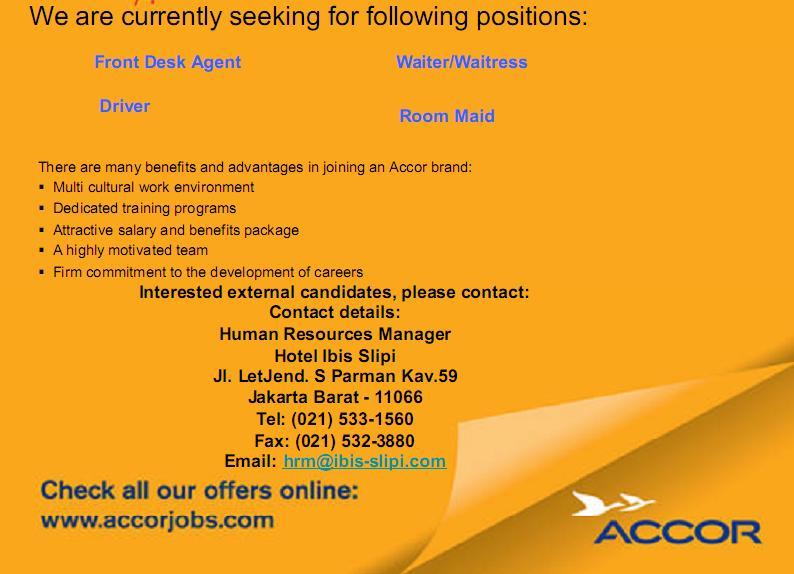 Job Vacancy Indonesia Hotel
